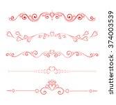 set calligraphic valentine's... | Shutterstock . vector #374003539