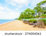 beautiful luxury hotel swimming ... | Shutterstock . vector #374004061