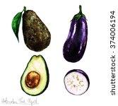 watercolor food clipart  ... | Shutterstock . vector #374006194