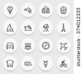 travel flat contour icons with... | Shutterstock .eps vector #374012335