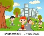 children in the park cartoon | Shutterstock . vector #374016031