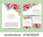 invitation with floral... | Shutterstock . vector #374020204