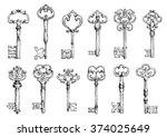 ornamental medieval vintage... | Shutterstock .eps vector #374025649