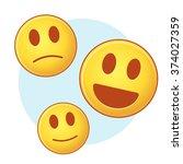 set of vector emoji on blue and ... | Shutterstock .eps vector #374027359
