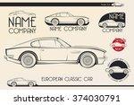 european classic sports car... | Shutterstock .eps vector #374030791