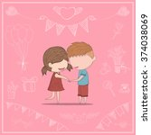 cute cartoon doodle lovers a... | Shutterstock .eps vector #374038069