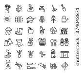 flower and gardening icons... | Shutterstock .eps vector #374043871