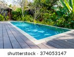swimming pool in beautiful park | Shutterstock . vector #374053147