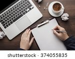 view from above businesswoman... | Shutterstock . vector #374055835