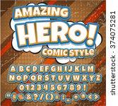 comic alphabet set. light color ... | Shutterstock .eps vector #374075281