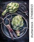 top view artichoke still life...   Shutterstock . vector #374080015