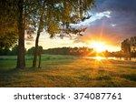 beautiful evening sunny... | Shutterstock . vector #374087761