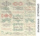 set of hand sketched doodle... | Shutterstock .eps vector #374090665