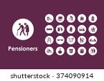 set of pensioners simple icons   Shutterstock .eps vector #374090914