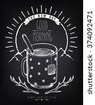 vintage poster good morning...   Shutterstock .eps vector #374092471