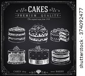 set of hand drawn cakes. bakery ... | Shutterstock .eps vector #374092477