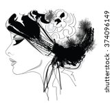 woman fashion model with hat  ...   Shutterstock .eps vector #374096149