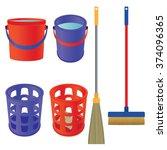 tools for cleaning. mop  bucket ... | Shutterstock . vector #374096365
