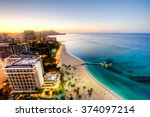 Aerial View Of Waikiki Sunrise