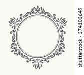 Elegant luxury retro floral frame. Design template for banner, card, invitation, label, emblem etc. Linear vintage vector illustration.