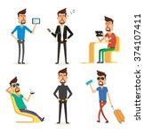character design in many poses | Shutterstock .eps vector #374107411