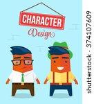 funny character design.... | Shutterstock .eps vector #374107609