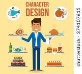 waiter character design set.... | Shutterstock .eps vector #374107615