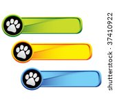 paw print icon on colored tabs | Shutterstock .eps vector #37410922
