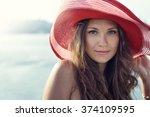 beautiful girl  business woman  ... | Shutterstock . vector #374109595