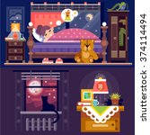 It's sleeping time! Dreaming girl in cozy bedroom full  of nice furniture and objects: table lamp, book, bed, teddy bear, cat on windowsill, cupboard, window with full moon. Flat vector illustration.