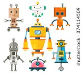 funny isolated robot set. 7... | Shutterstock .eps vector #374114509