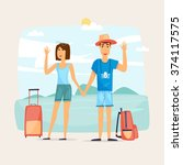 couple of tourist together on a ... | Shutterstock .eps vector #374117575