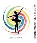 ballet dance designed on... | Shutterstock .eps vector #374118079