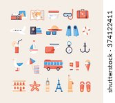 icons set of summer vacation ... | Shutterstock .eps vector #374122411