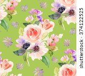 seamless pattern with flowers... | Shutterstock . vector #374122525