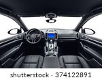 Car inside. Interior of prestige modern car. Front seats with steering wheel, dashboard & display. Black cockpit with wood & metal decoration on isolated white background. - stock photo