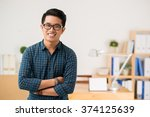 smiling vietnamese young man in ... | Shutterstock . vector #374125639