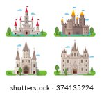 medieval ancient castle... | Shutterstock .eps vector #374135224