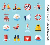 lifeguard flat icons set with...   Shutterstock .eps vector #374135599