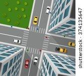 city street top view 3d design... | Shutterstock .eps vector #374135647
