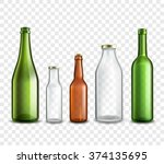 glass bottles realistic 3d set... | Shutterstock .eps vector #374135695