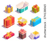 bright  colorful present and... | Shutterstock .eps vector #374138065