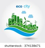 green eco city with private... | Shutterstock .eps vector #374138671