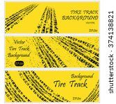 set of three yellow tire track... | Shutterstock .eps vector #374138821