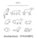 Stock vector line set of pets linear silhouettes animals vector icons parrot cat dog labrador hamster 374143891