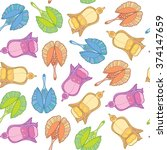vector floral seamless pattern | Shutterstock .eps vector #374147659
