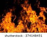 fire flames on a black... | Shutterstock . vector #374148451