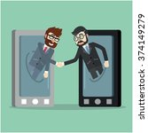 business deal from cell phone | Shutterstock .eps vector #374149279