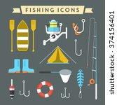 minimal fishing equipment  ... | Shutterstock .eps vector #374156401