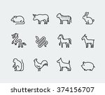 chinese zodiac vector icons in... | Shutterstock .eps vector #374156707